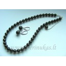 Black swarovski pearls set